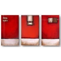 Triptico Abstracto Acrilico Y Oleo. Decorativo