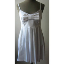 Vestido Blanco Algodon Rasado Con Moño Verano 2014