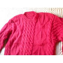 Sweater / Pullover Rojo Artesanal, Tejido A Mano