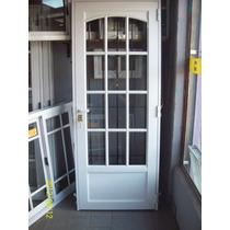 Puerta De Aluminio 0.80x2.00, 1/4 Punto, Vidrio Repartido