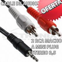 Cable De Audio 2 Rca Macho - Mini Plug Stereo 3,5 Mm De 1.50