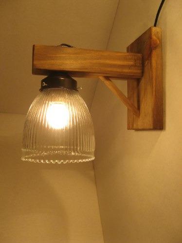 Aplique de pared rustico estilo campo madera hierro tulipa for Aplique pared madera