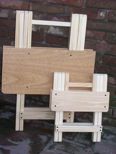Banqueta banco silla mesa plegable de madera som for Mesa banco madera jardin