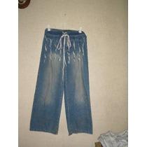 Pantalon Capri De Jeans Bordado Con Flecos Azzy Talle 10