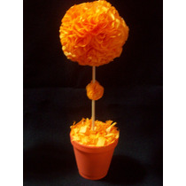 10 Topiarios Con Flores De Papel De Seda Souvenir,centro Mes