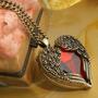 ¡ Vintage! Conjunto De Cadena Y Dije Forma Corazón Cris Rojo