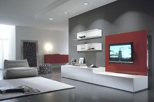 Mueble living modular lcd moderno tv comedor progetto for Living muebles modernos