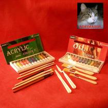 Caja Oleos + Acrilicos + Pinceles + Espatulas + Pinceletas