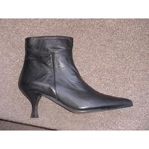 Botas De Cuero Color Negras N°35, Forradas. Ultimo Par!!