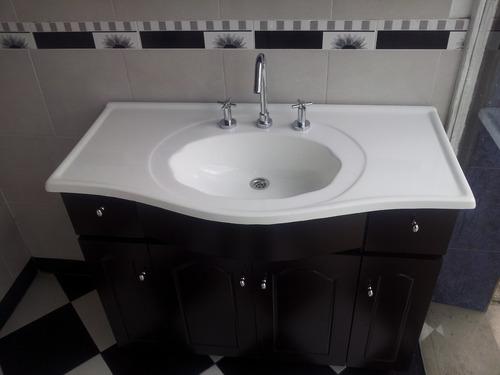 Bachas Para Baño Con Pie:Vanitory 1mtr Mueble De Baño Laqueado Wengue + Bacha (Madera