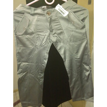 Pantalon Capri Plateado Metalizado Talle 36 Elastizado