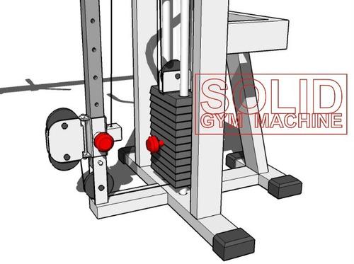 Planos dibujos de gimnasio gym poleas cruzadas regulables for Poleas para gimnasio