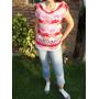 Moda Vintage Remera Tejida Al Crochet Rosa, Roja. Talle M