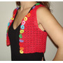 Mini Chaleco Rojo A Crochet En Hilo Macrame Con Apliques