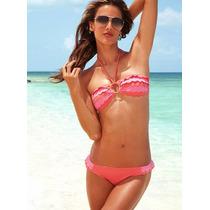Bikini Volados Coral Y Rosa Pink -m- Victoria