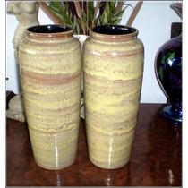 Espectacular Par De Floreros Ceramica Esmaltada Firmado.!
