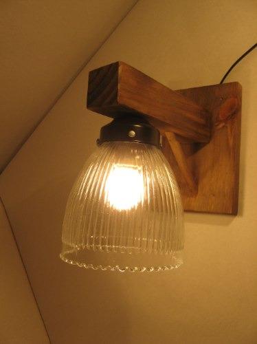 Aplique de pared rustico estilo campo madera hierro tulipa - Apliques de luz rusticos ...