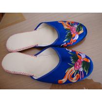 Chinelas Azules Japonesas Bordadas