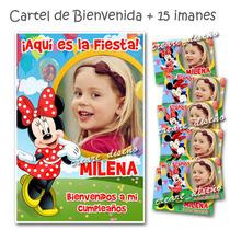 Minnie 15 Souvenir Iman Cumple + Cartel Bienvenida Con Foto