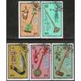 Mongolia Serie X 5 Sellos Usados Instrumentos Musicales 1986