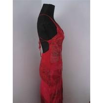 Sensual Vestido Rojo Gasa Infartante Espalda Talle Small