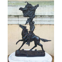 Historical*-escultura Bronce Firmada Remington-indio C/pony