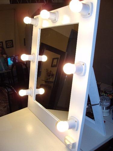Espejos con luces 70 x 60 con pie maquillaje todoespejos - Luces para espejos ...