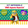 Kit Imprimible Editable Oso Agente Especial, Candy Bar