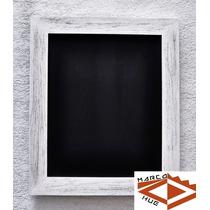 Pizarra Negra 38x45 Cm Marco Blanco Gastado + Gratis Tizas