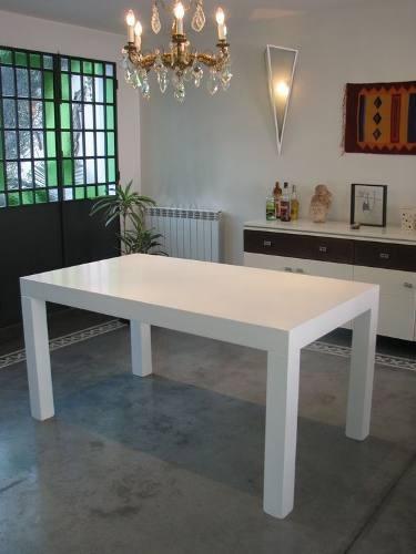 Mesa de comedor moderna en blanco negro wengue 1 20 x 0 80 for Precio mesa comedor
