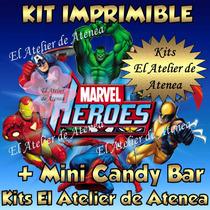Kit Imprimible Super Heroes Invitaciones + Mini Candy Bar Y