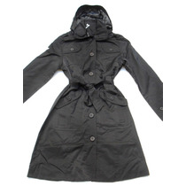 Trench Piloto Impermeable Mujer Negro Con Capucha Talle M