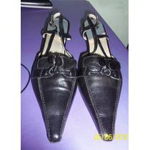 Stiletto De Cuero Negro Talle 39,taco 4 Cm, De España