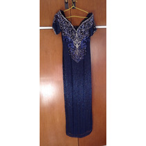 Vestido Fiesta Azul Bordado Importado Medium Largo Madrina