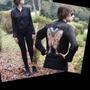 Campera Negra De Seda O Blusa Con Cierre Diseño Lentejuelas