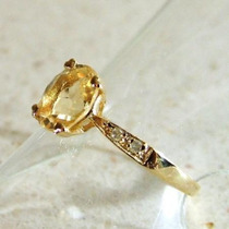 Exquisito Anillo De Oro Macizo 14k Con Engarce De Citrino