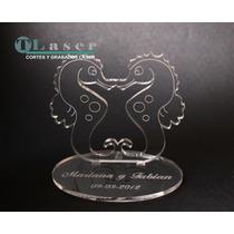 Souvenir De Boda En Acrilico Hipocampo Con Nombres Grabados