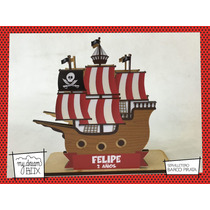 Servilletero Evento Personalizado Madera Barco Pirata Jake