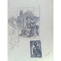 Ernesto Scotti Dibujo Original, Lapiz Sobre Papel 21 X 29