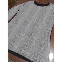 Vestido Manga Larga De Lanilla Combinada De Diseño