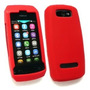 Funda Silicona Con Logo Nokia Asha 305 306 De Goma Rojo