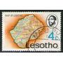 Lesotho Sello Usado Mapa Del País Año 1976 = Una Ganga !!!