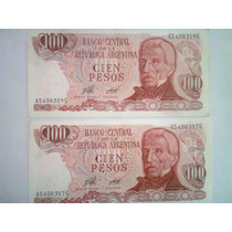 Lote De 2 Billetes De 100 Pesos S/c Correlativos