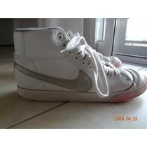 Zapatillas Nike Botitas De Cuero Blanco Y Plateado - Nº39