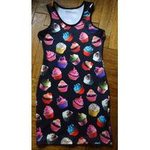 Vestido Mini Negro Con Estampa Cup Cakes Xsmall Verano 2015