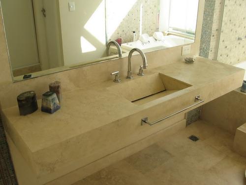 Mesada 130x50 marmol travertino con bacha desague oculto for Marmol travertino para banos