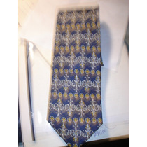 Corbata Hombre Italiana Azul Y Amarillo Estampada Tie