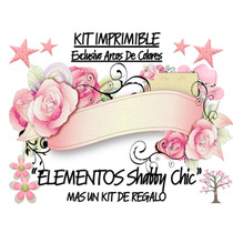 Kit Imprimible Mix Elementos Shabby Chic Rosas 2x1