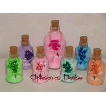 10 Botellitas De Vidrio Con Sales O Jabon Liquido Souvenirs