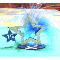 Estrella De Fibrofacil Con Brillo Y Pluma.